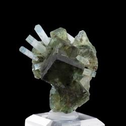 Beryl, aquamarine variety, and Fluorite, Erongo Region, Namibia - miniature